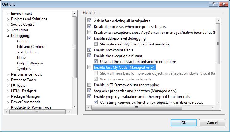 Set 'Just My Code'  debugging