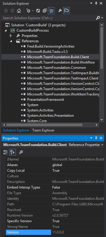 Custom Build needs version 11 assemblies